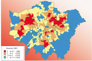 London's ethnic population diversity 2001